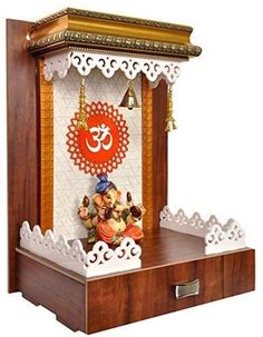 Temple Design For Home, Home Temple, Decorative Metal Screen, Home Crafts, Arts And Crafts, Clinic Design, Gym Design, Beautiful Small Homes, Living Room Wall Units