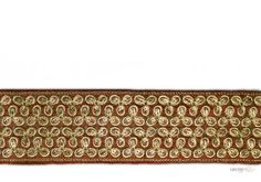 gold embroidered trim . This awesome design is of Embroidery Trims . Its product code is: 001032 , Its size is: 60 mm. Material used is 100% Polyester . This Embroidery Trims comes with Embroidery , Sequence decoration. As seen design pattern is Flower . Locally this lace is also known as Saree Border . This gold embroidered trim item have 1 colors available in this design. This lace can also be used in Saree Border etc.