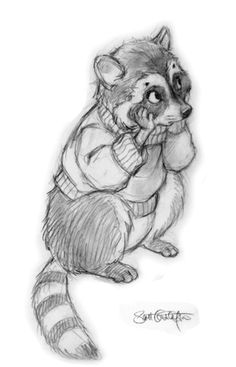 """Miscellaneous Drawings of Animals   from """"Where Are my Animal Friends?"""" - Sad Racoon - Study"""