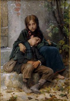 """""""Young Beggars""""  William Adolphe Bouguereau (1825 - 1905) from http://www.paintingsframe.com/Adolphe+William+Bouguereau-painting-c15.html"""