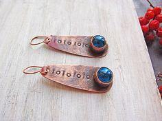 Copper Earrings Glass Earrings Rustic Earrings by MaryBulanova