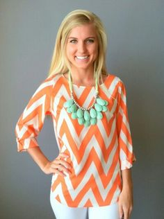Orange White  Outfit minus the teal necklace