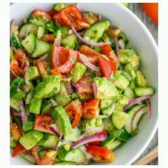 Avocado Cucumber Tomato Salad  Ingredients: ➡️2 Avocados  ➡️1/4 cup Cilantro  ➡️1 Cucumber ➡️1 medium Lemon   ➡️1/2 Red Onion  ➡️1 LB Roma Tomato  ➡️1 Zucchini   ➡️1/8 tsp Pepper  ➡️1 tsp Salt  ➡️2 tbsp Olive Oil (optional)  Cut up vegetables and herbs. Add olive oil, salt, pepper and squeeze lemon.  Serves 2-3  www.jillfranzone.com