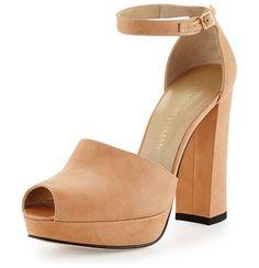 "On SALE at 71% OFF! Valleygirl Leather Platform Sandal by Stuart Weitzman. Stuart Weitzman vecchio napa leather sandal. 4.5"" covered heel; 1"" platform; 3.5"" equiv. Peep toe. Adjustable ankle s..."