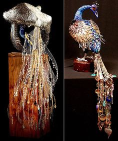 Artist Laurel, Roth, fake nails, hair clips, fake eyelashes, jewelry, walnuts, Swarovski crystal to create peacock sculpture, beautiful and thought-provoking.