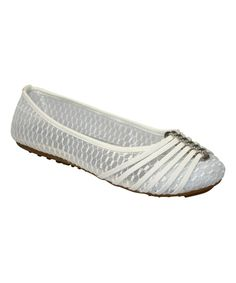 White Strap-Toe Mesh Flat