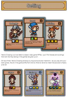 Working hard on the Hero's Crossing Kickstarter coming in October. Here's a little snippet. Game Card Design, Board Game Design, Video Game Sprites, Concept Draw, Game Gui, Pixel Art Games, Classic Video Games, Diy Games, Game Ideas