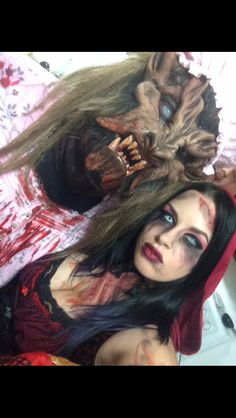 Evil red riding hood makeup; big bad wolf Halloween costumes; couples costumes Halloween 2015