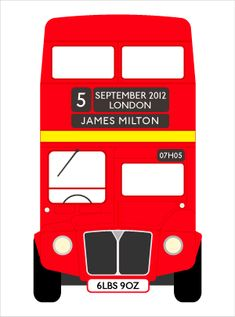 Red Retro London Bus personalized with baby's name and date of birth!