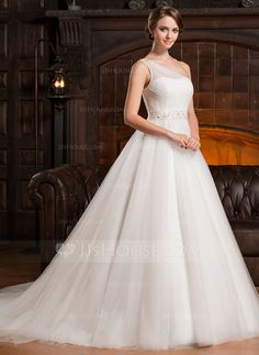 [US$ 199.99] Ball-Gown One-Shoulder Chapel Train Tulle Wedding Dress With Ruffle Beading (002056224)