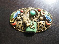 Vintage Czech Neiger Art Deco Chinese Dragon Enamel Brass Peking glass brooch