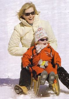 The Lady Louise Windsor having a ride with her mum, Sophie, Countess of Wessex.