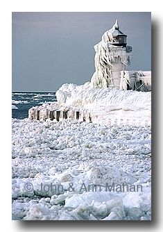 St. Joseph MI North Pier Outer Light Encased in Ice...