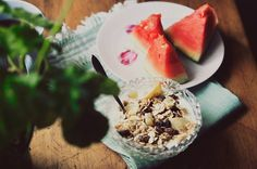 Morning Diaries - muesli and watermelons
