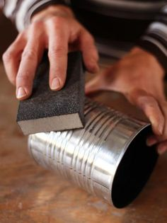 Use Sandpaper to Clean Tin Can