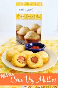 {Dessert Now, Dinner Later!} Mini Corn Dog Muffins - light & fluffy corn muffins with hot dog centers.  Perfect for little kids or as an appetizer. #recipe #appetizer