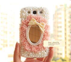 Lace Pearl Bowknot Mirror DIY Phone Case Deco Den Kit & Free Samsung Galaxy S3 Case, Galaxy S4 Case, Galaxy NOTE2 Case