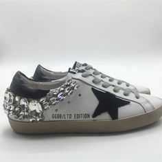 new style b4e84 3ae3d Golden Goose Deluxe Brand sneakers sale online, sneakers in leather with  suede star black diamond cream s.