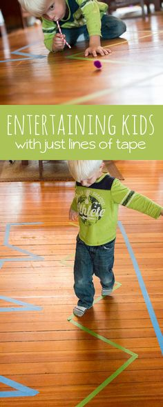 2 activities to do with just some lines of tape to keep the kids busy (and moving!)