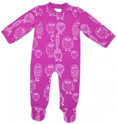 Organic Purple with Owl Design Romper Suit