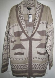 I JEANS BY BUFFALO Taupe Cabana Long Cardigan Sweater Jacket Size XL Ret $75 NWT #IJeansByBuffalo #Cardigan.  Great cardigan jacket that's warm but not heavy in weight or bulky.