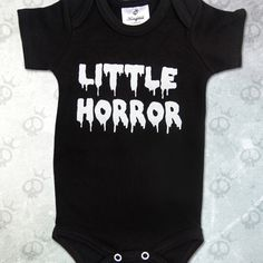 Little horror - white dripping text on black romper Black Romper, Onesies, Horror, Rompers, Pretty, Kids, Stuff To Buy, Clothes, Design
