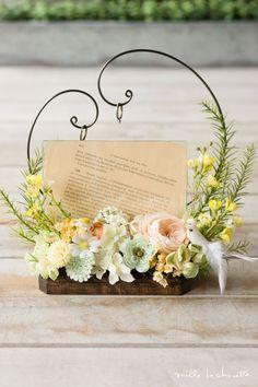 アプリコットローズ イエロー 小鳥 フォトスタンド/リングピロー Wedding Pillows, Ring Pillow Wedding, Beautiful Flower Arrangements, Floral Arrangements, Diy Wedding, Wedding Flowers, Flower Girl Wreaths, How To Preserve Flowers, Wedding Confetti