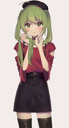 anime outfits c Truyn nh Anime p ( 2 ) - Anime Green Hair - Kirigaya Yuki - Wattpad Anime Chibi, Manga Kawaii, Chica Anime Manga, Kawaii Anime Girl, Cool Anime Girl, Pretty Anime Girl, Beautiful Anime Girl, Anime Art Girl, Anime Girls