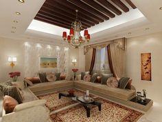 Salon marocain avec une touche d'excellence du style marocain Living Room Designs, Living Room Decor, Arabian Decor, Plafond Design, Interior Architecture, Interior Design, Moroccan Interiors, Dream Rooms, Home Decor Furniture