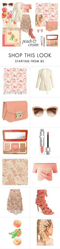 """Kai's Peachy Posh Day"" by kat-kemmet ❤ liked on Polyvore featuring Blazé Milano, Furla, Oliver Peoples, Too Faced Cosmetics, Christian Dior, Miss Selfridge, Jason Wu, Daya and Kate Spade"