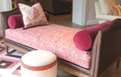 """The """"Reposse Day Bed"""" with truffle wood frame, leather and a trio of beautiful fabrics. Lacefield Designs Pagodas and Serengeti Coral fabrics Hall N. Home Bedroom, Bedrooms, North Carolina Furniture, Love Chair, Custom Cushions, Beautiful Living Rooms, Furniture Upholstery, Ottomans, Couches"""
