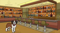 A Happy Young St Bernard Dog With Inside A Bar Stocked With Bottles Of Alcohol Background:  A dog with brown and white fur droopy gray ears parts its lips to show a pink tongue while staring ahead and Interior of an establishment that caters to liquor drinking customers with a bar and six khaki colored bar stools with stainless chrome legs wooden shelves with a selection of premiere alcoholic beverage bottles beige lighted ceiling and pale yellow flooring  #dog #puppy #clipart #design…