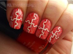Holy Manicures: Red Puzzle Piece Nails.