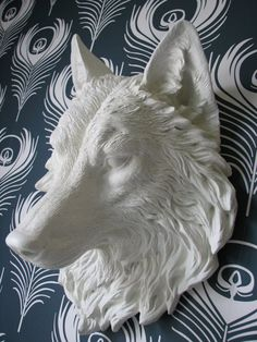 Faux Taxidermy Full Size Wolf Head Wall Decor by mahzerandvee