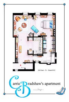 .  Carrie Bradhsaw's Apartment as a POSTER. You can buy an original artworks, specially done for you, here: www.etsy.com/... or writting me to mailto:ializar@ho...