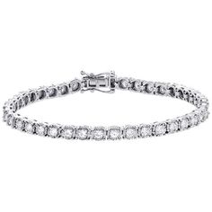 14K White Gold Diamond Prong Set Womens 1 Row Tennis Bracelet 4.50mm 7"""