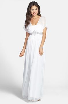 Way-In Embellished Waist Mesh Gown (Juniors) available at #Nordstrom