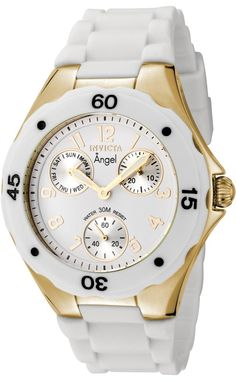 Invicta Women's #0718 Angel Collection Gold-Plated White Polyurethane Watch