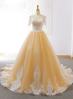 Silhouette:ball gown Hemline:floor length Neckline:bateau Fabric:tulle Shown Color:champagne Sleeve Style:short sleeve Back Style:lace up Embellishment:appliques Tulle Ball Gown, Tulle Lace, Ball Dresses, Ball Gowns, Formal Dresses, Dress Lace, Backless Prom Dresses, Backless Wedding, Wedding Gowns
