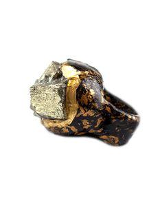 The Paint it Black Pyrite Ring by JewelMint.com, $95.00