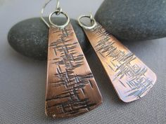 Mixed Metal Hammered Earrings/Hammered Copper Earrings/ Textured Copper Earrings/ Artisan Earrings/ Antiqued Copper earrings