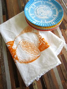 Screen Printed Organic Cotton Citrus Flour Sack Tea Towel - Soft and Absorbent Dish Towel - Eco Friendly and Awesome., via Etsy.