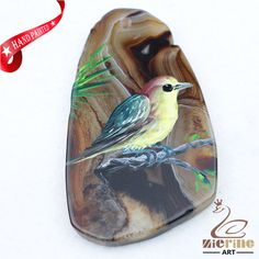 Hand Painted Bird Agate Slice Gemstone Necklace Pendant Jewelry D1706 1041 #ZL #Pendant