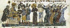 Illustrations from a Coptic Gospel, Damietta, Egypt, 1179-80 Christ devant Pilate Folio 82v. Christ before Pilate