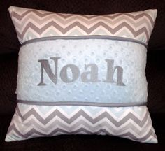17 x 17 embroidered nursery pillow with zipper Chevron print. Embroidered name or 3 letter monogram on Minky Fabric.