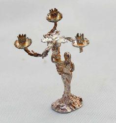 Vintage Sterling Silver Miniature Candelabra 19th Century Caryatid Female Figure Artisan Ken Palmer.