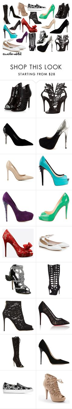 """""""The Shoe Collage"""" by caitlin-mb82 on Polyvore featuring Giuseppe Zanotti, ALDO, Gianvito Rossi, Casadei, Christian Louboutin, Valentino, Brian Atwood, Kendall + Kylie, Dolce&Gabbana and Via Spiga"""