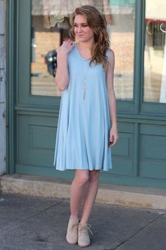 Basic Tank Dress {Dusty Blue}