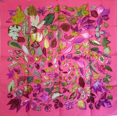"Gorgeous New in Box Hermes Silk Scarf ""Tourbillon"" Vauzelles Swirling Leaves 