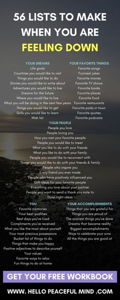 56 Lists To Make When You Are Feeling Down When you are down.make these lists. Motivation and in Coaching, Mental Training, Self Development, Personal Development, Character Development, Self Improvement, Self Help, Self Care, Good To Know